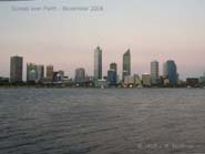 An animation of the sun setting over Perth city, as the lights come out.