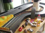The first meet of the year was held at Bills, where we raced a lot of 1/32nd cars on his routed track. The HO cars got a small look in after lunch, with no real racing, but more of a social gathering.